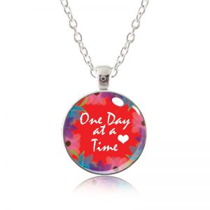 Glass Pendant Necklace - Red Lipstick - One Day at a Time