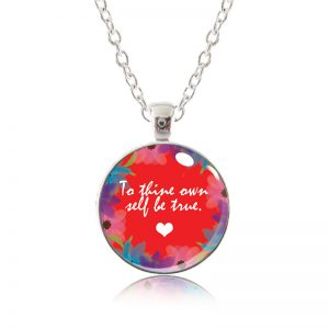 Glass Pendant Necklace - Red Lipstick - To Thine own self be true