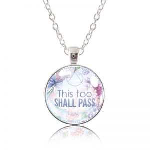 Glass Pendant Necklace - English Garden - This Too Shall Pass